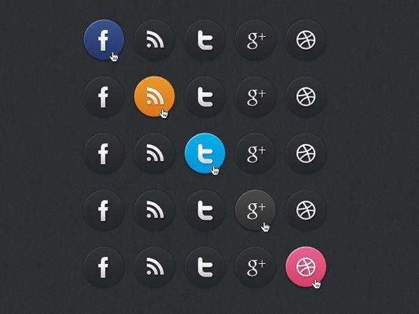 Ilustração dos ícones de Dark Social Media Icons