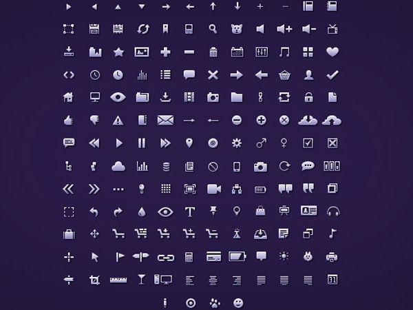 Ilustração dos ícones de Petite Icons
