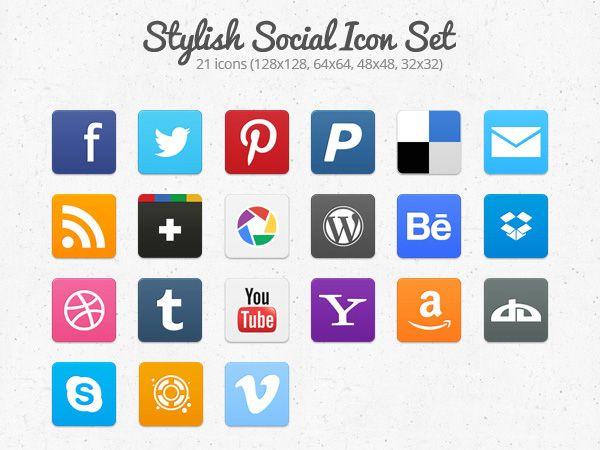 Ilustração dos ícones de Stilish Social Icons