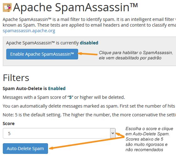 Ativando filtro SpamAssassin
